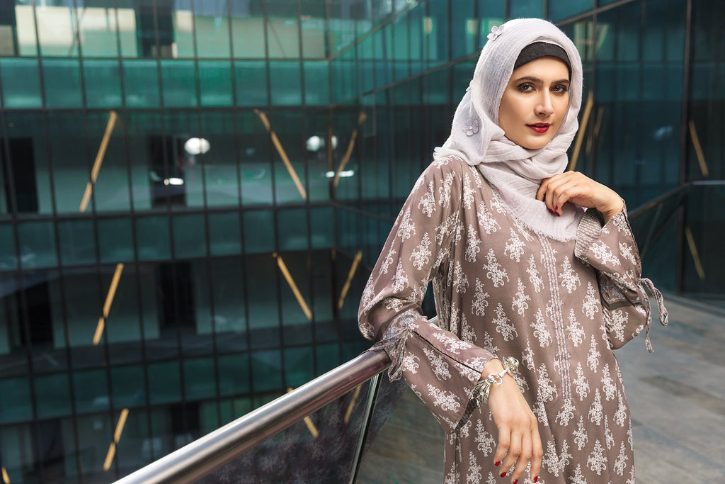 DSW19-71 Brown Digital Printed Stitched Lawn Jalabiya - 1PC - Nishat Linen UAE
