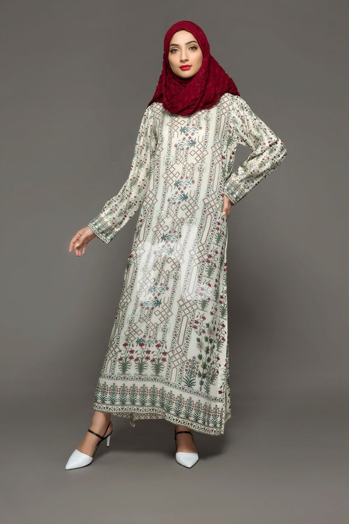 DW18-34 Off White Printed Stitched Cotton Modal Jalabiya - 1PC - Nishat Linen UAE