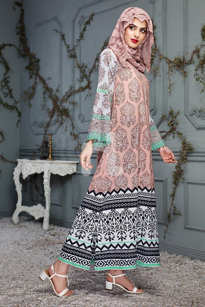 DS18-107 Brown Digital Printed Stitched Lawn Jalabiya - Nishat Linen UAE