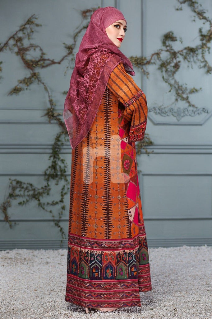 DS18-108 Orange Digital Printed Stitched Lawn Jalabiya - Nishat Linen UAE