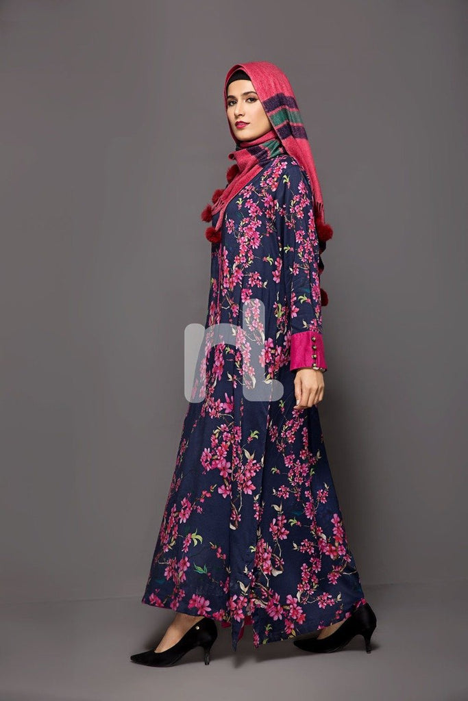 DW18-59 Navy Blue Digital Printed Stitched Cotton Modal Jalabiya - 1PC - Nishat Linen UAE