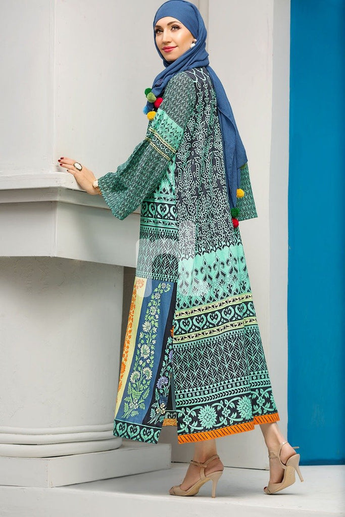 DS18-65 Green Digital Printed Stitched Jalabiya - 1PC - Nishat Linen UAE