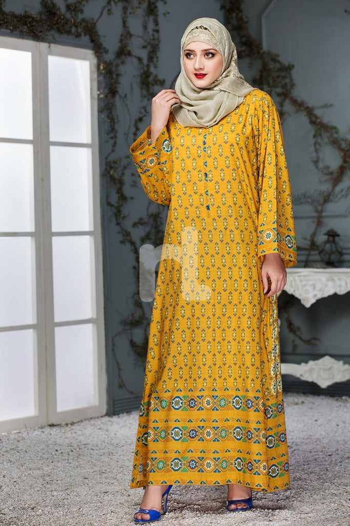 DS18-96 Yellow Digital Printed Stitched Lawn Jalabiya - Nishat Linen UAE