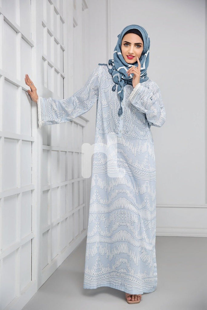 DS19-05 Blue Digital Printed Stitched Cambric Jalabiya - 1PC - Nishat Linen UAE