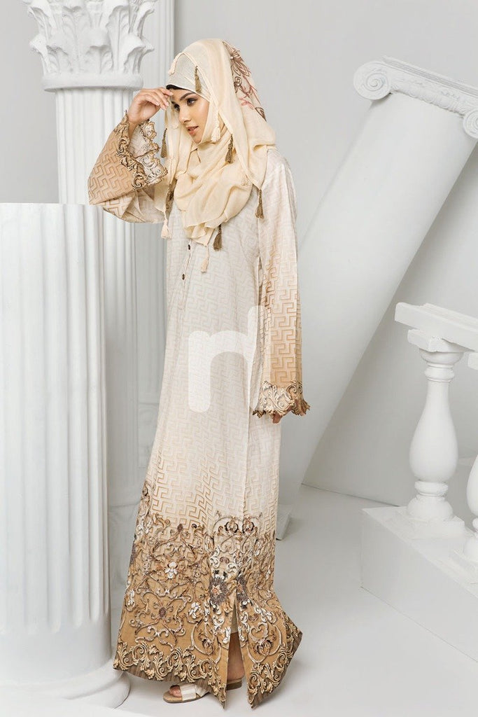 DS19-07 Beige Digital Printed Stitched Cambric Jalabiya - 1PC - Nishat Linen UAE