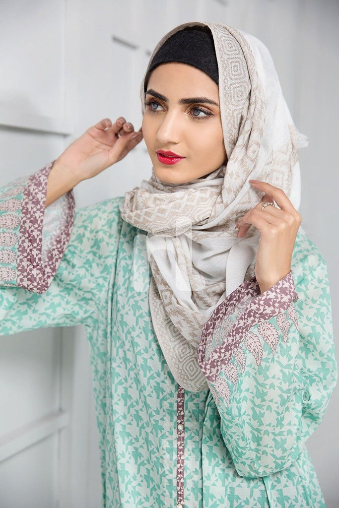 DS19-167 Green Printed Stitched Lawn Jalabiya - 1PC - Nishat Linen UAE