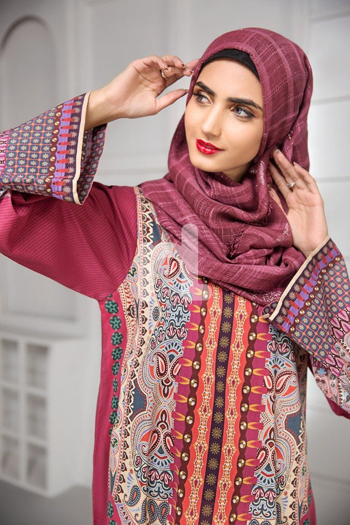 DS19-170 Maroon Printed Stitched Lawn Jalabiya - 1PC - Nishat Linen UAE