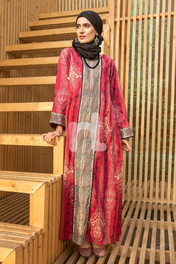 DS19-23 Red Digital Printed Stitched Lawn Jalabiya - 1PC - Nishat Linen UAE