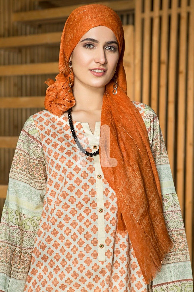 DS19-40 Orange Digital Printed Stitched Lawn Jalabiya - 1PC - Nishat Linen UAE