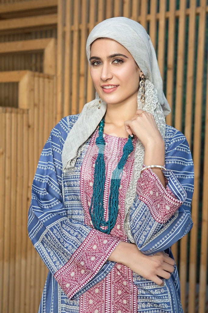DS19-42 Blue Digital Printed Stitched Lawn Jalabiya – 1PC - Nishat Linen UAE