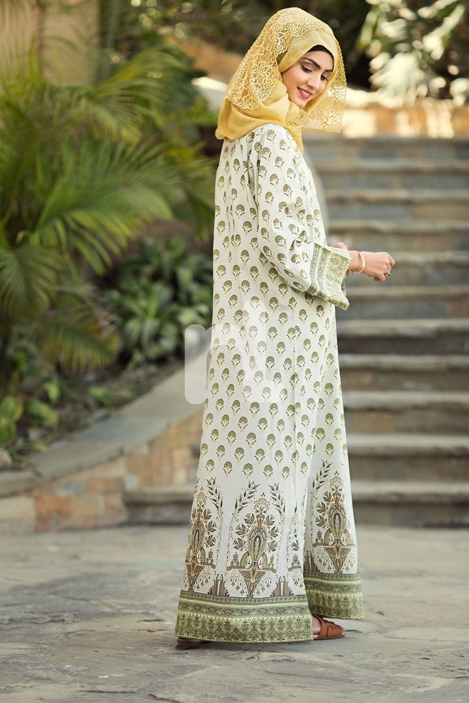 DS19-57 Off White Digital Printed Stitched Cambric Jalabiya 1PC - Nishat Linen UAE