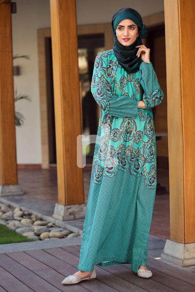 DS19-66 Green Digital Printed Stitched Lawn Jalabiya – 1PC - Nishat Linen UAE