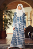 DS19-68 Blue Digital Printed Stitched Lawn Jalabiya 1PC - Nishat Linen UAE