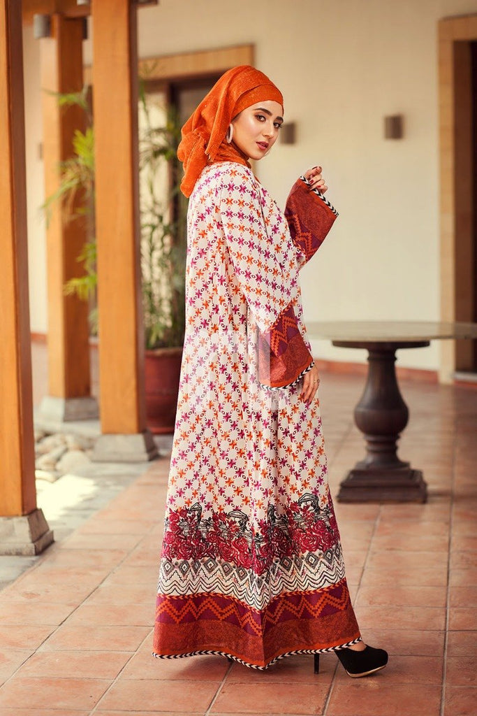 DS19-70 Beige Digital Printed Stitched Jalabiya - 1PC - Nishat Linen UAE