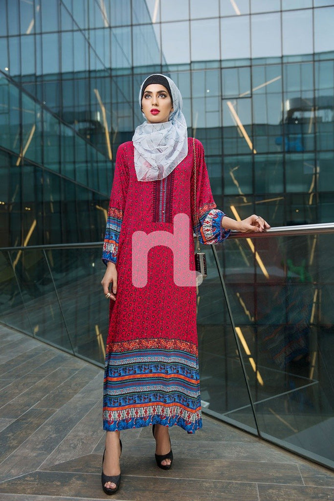 DSW18-05 Red Printed Stitched Lawn Jalabiya - 1PC - Nishat Linen UAE