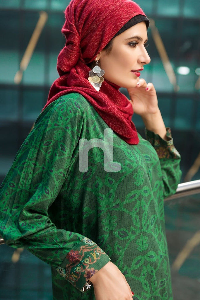 DSW19-56 Green Digital Printed Stitched Lawn Jalabiya – 1PC - Nishat Linen UAE