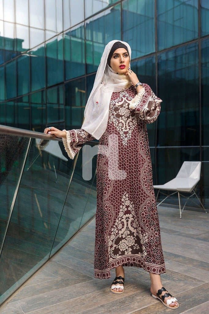 DSW19-57 Brown Digital Printed Stitched Lawn Jalabiya – 1PC - Nishat Linen UAE