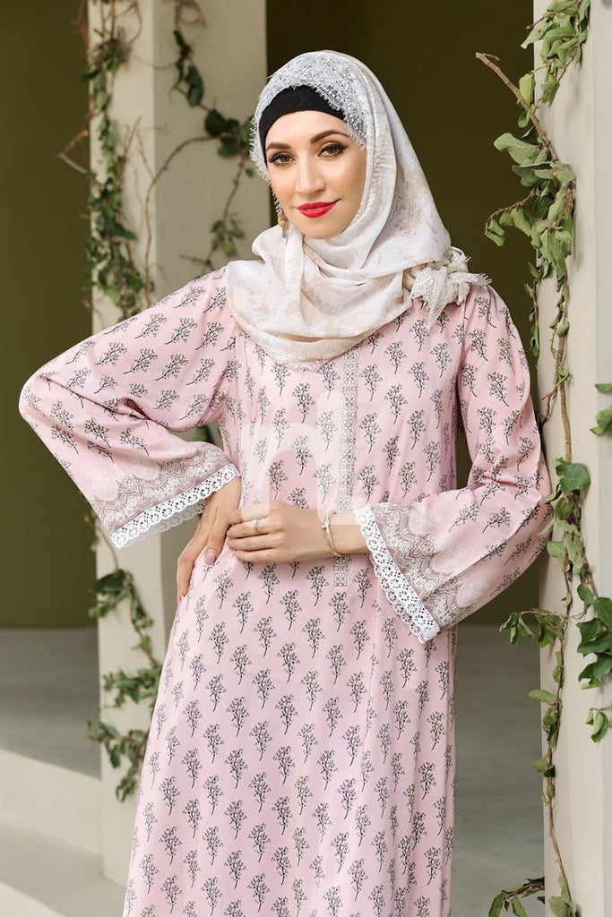 DSW19-81 Pink Digital Printed Stitched  Jalabiya – 1PC - Nishat Linen UAE