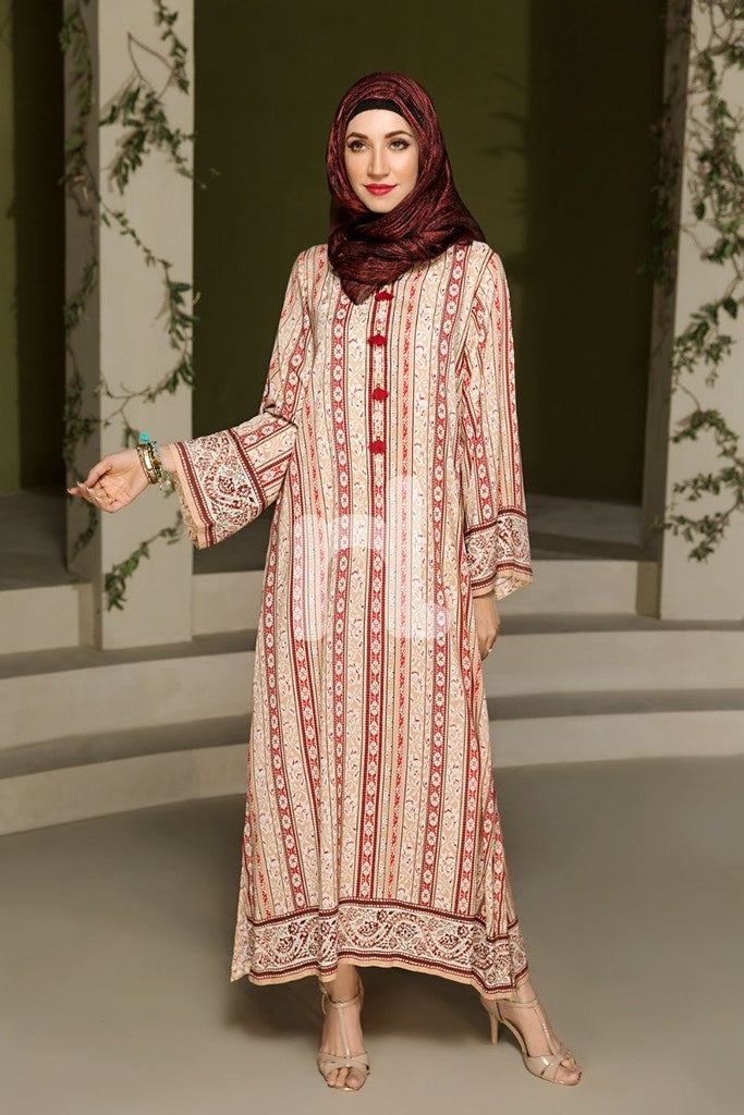 DSW19-84 Peach Digital Printed Stitched  Jalabiya – 1PC - Nishat Linen UAE