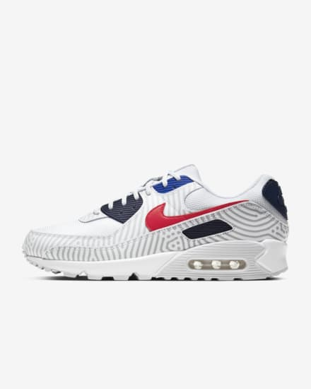 NIKE AIR MAX 90 WIT/ROOD/BLAUW