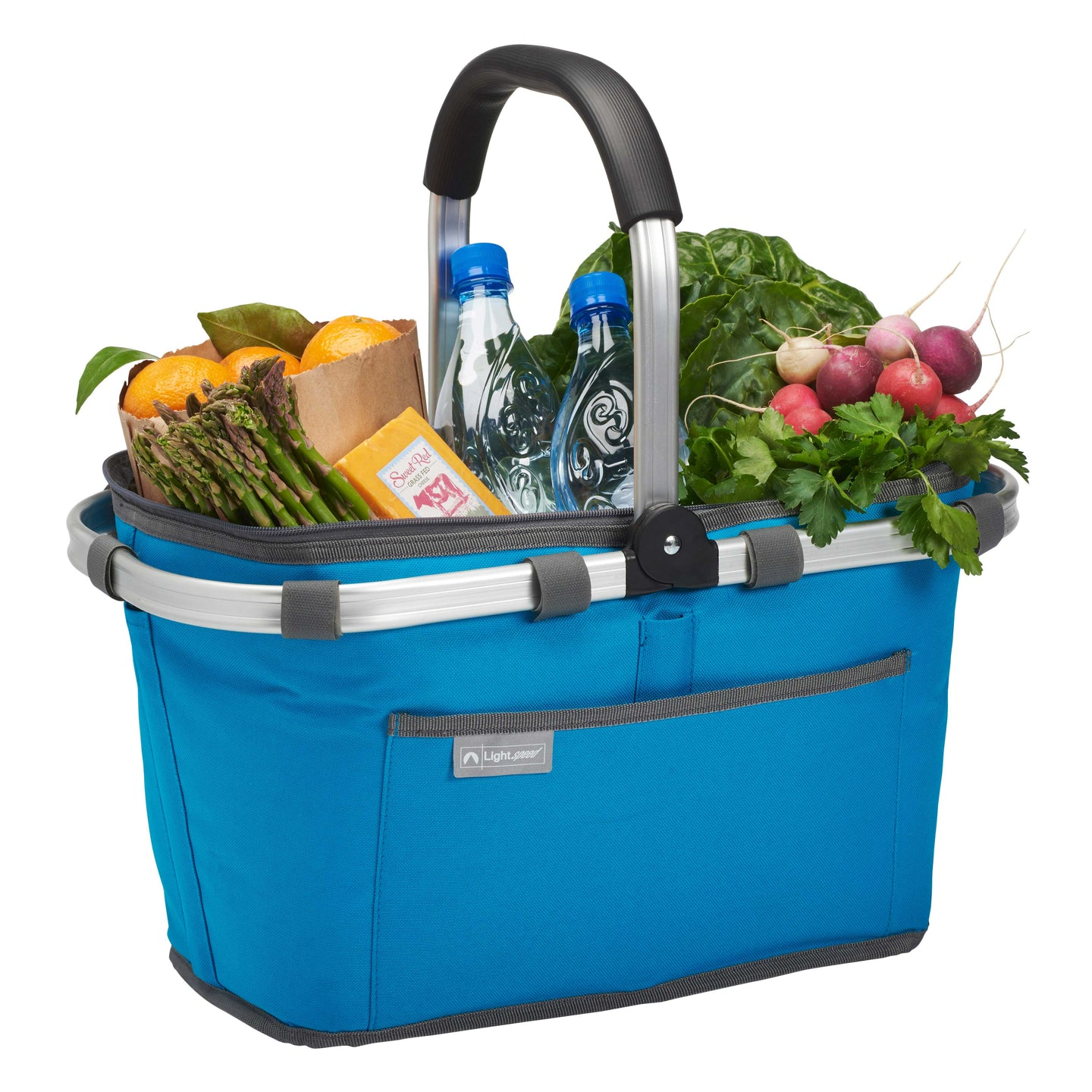 Blue, insulated market basket filled with groceries.