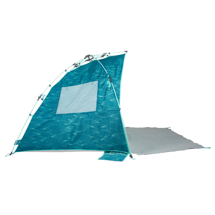 Lightspeed Quick Cabana beach tent features blue and aqua wave print, extended floor porch and integrated sand pockets.