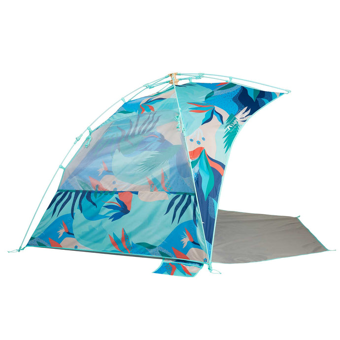 Side view of Glorious print Sun Shelter beach tent in fun, colorful abstract ocean inspired print.