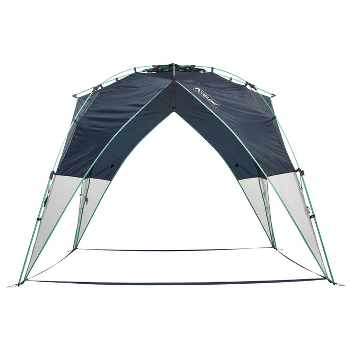 Tall canopy with no floor. Deep navy color with mint green trim.