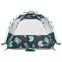 Load image into Gallery viewer, Back view of Deep Tropics print Sun Shelter with windows open for air flow. Also shown, integrated sand pockets.