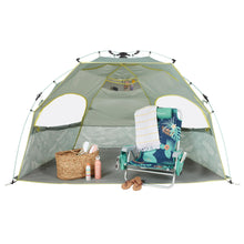 Load image into Gallery viewer, Blue Quick Cabana is large enough to accommodate a beach chair, cooler and accessories.