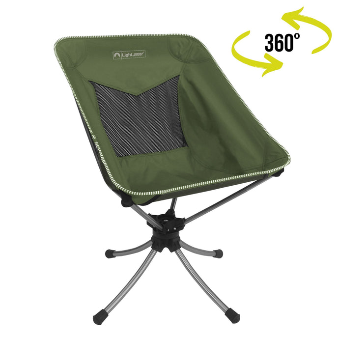 Hunter green 360 Sports Chair with 360 degree swivel graphic.