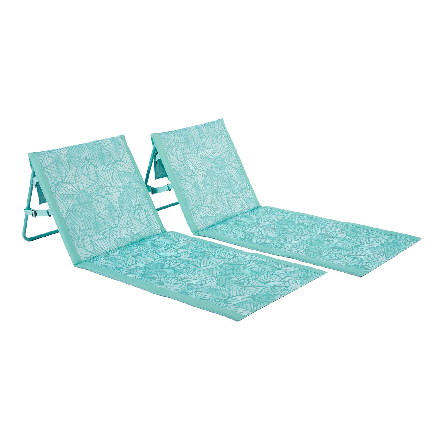 Lightspeed loungers come in a two-pack and feature an abstract leaves print in light blue ombre colors with light aqua trim.