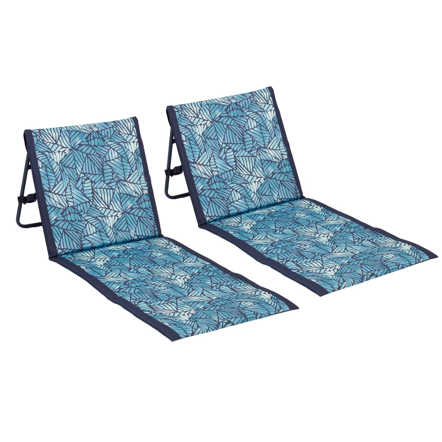Lightspeed loungers come in a two-pack and feature an abstract leaves print in a blue colors with navy trim.