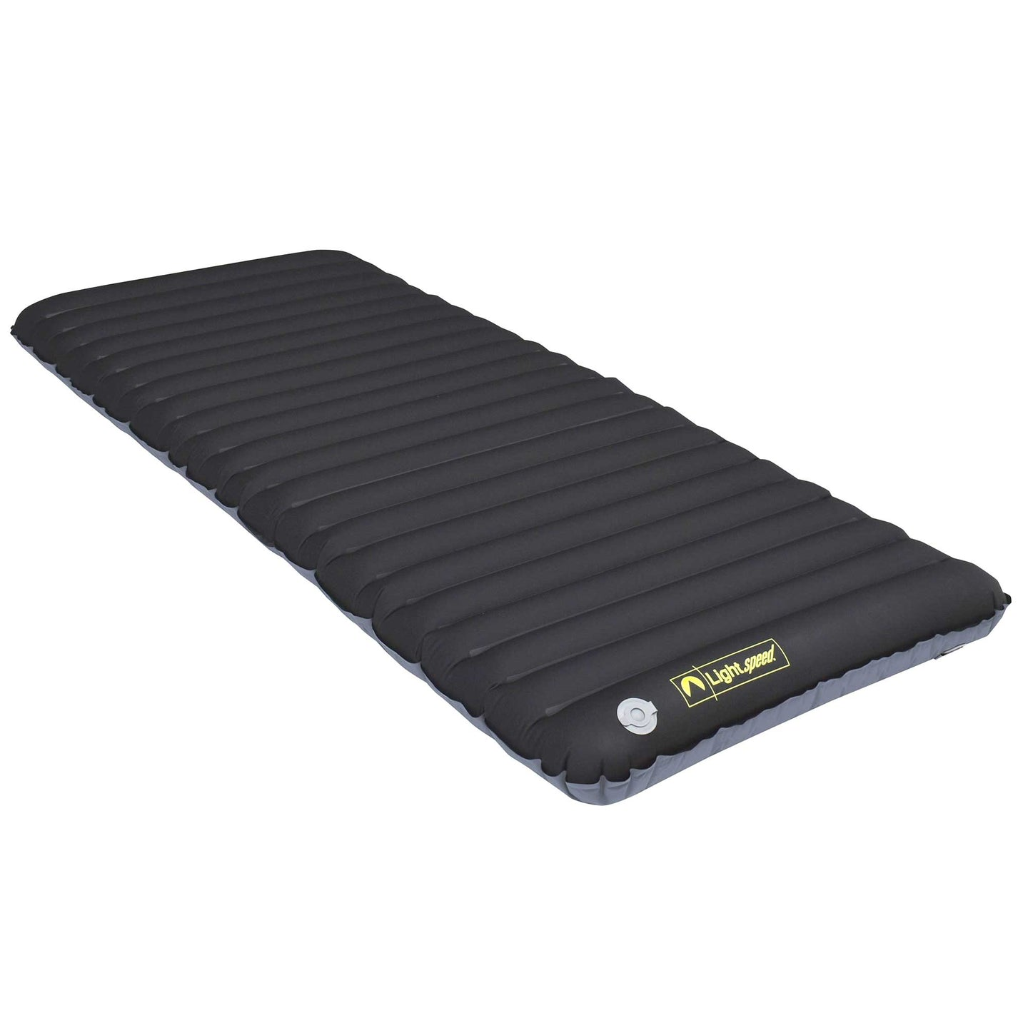 Angled view of Black Lightspeed outdoors Restaire Air Mat with soft Flexform material top.
