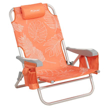 Load image into Gallery viewer, Side view of white and orange palm frond print backpack beach chair.