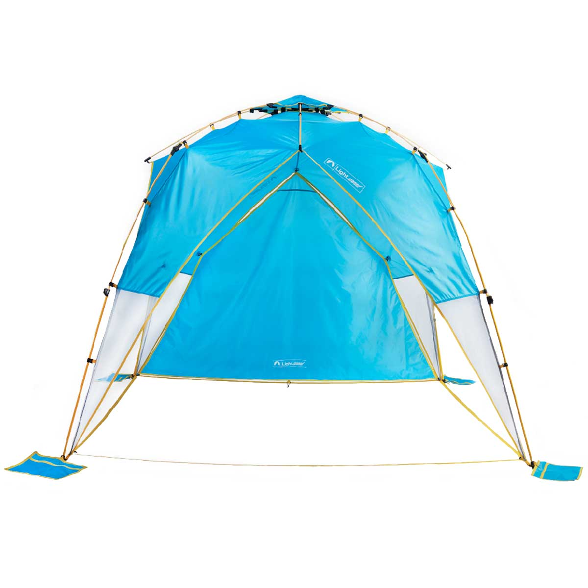 Tall canopy with shade wall and no floor in light blue and yellow trim - shown with detachable sand pockets.