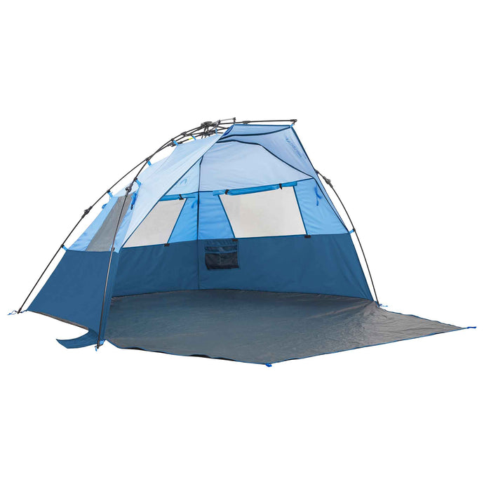Lightspeed Quick Cabana beach tent with 3 shades of blue color-blocked design and extended porch.