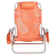 Load image into Gallery viewer, Backpack style beach chair. White outlined palm fronds on bright orange background, integrated headrest and 2 side pockets.