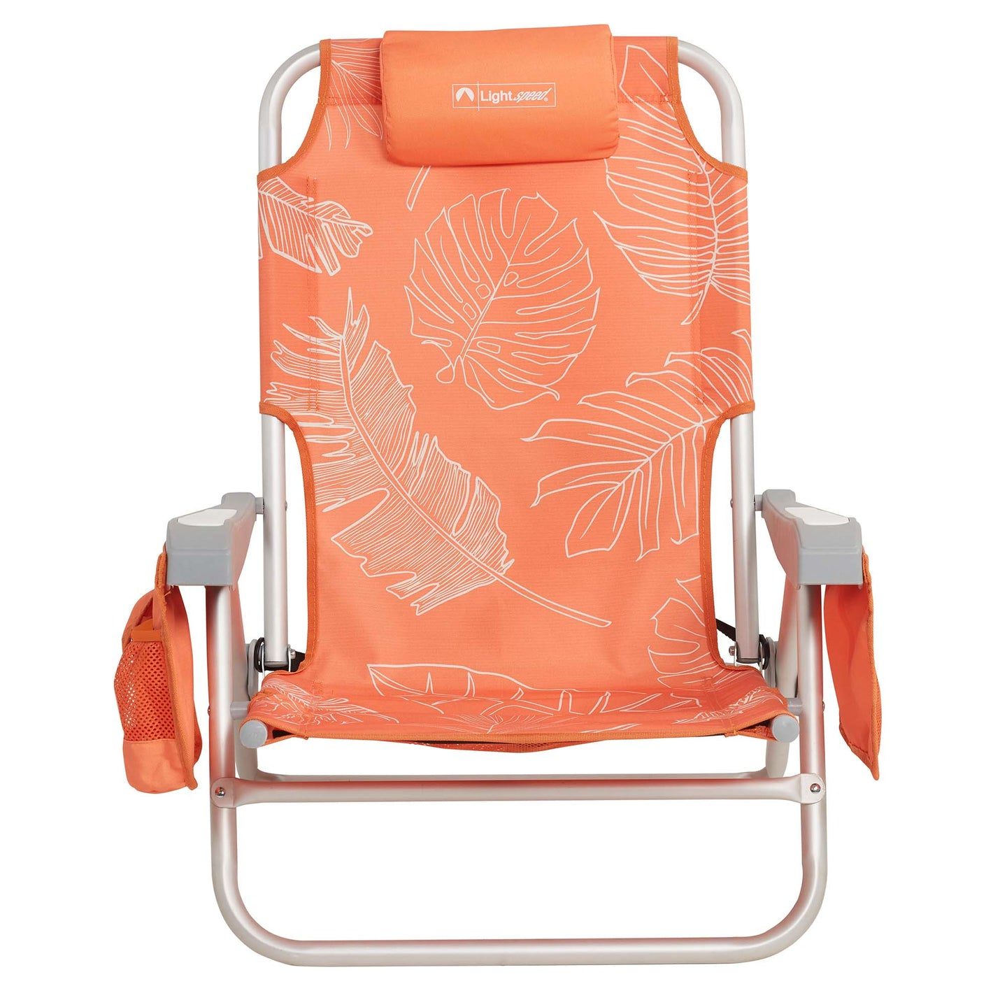 Backpack style beach chair. White outlined palm fronds on bright orange background, integrated headrest and 2 side pockets.