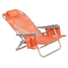Load image into Gallery viewer, Semi-reclined view of orange and white palm print backpack style beach chair.