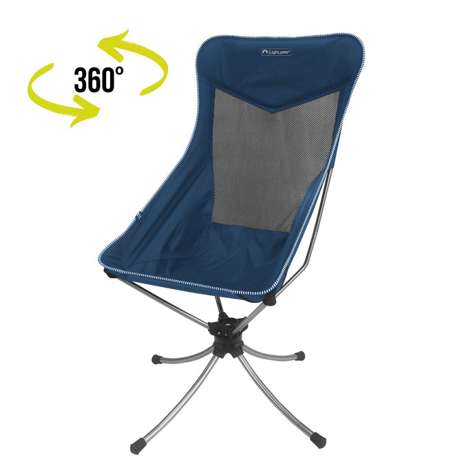 Blue, tall back 360 Sports Chair with 360 degree swivel graphic.