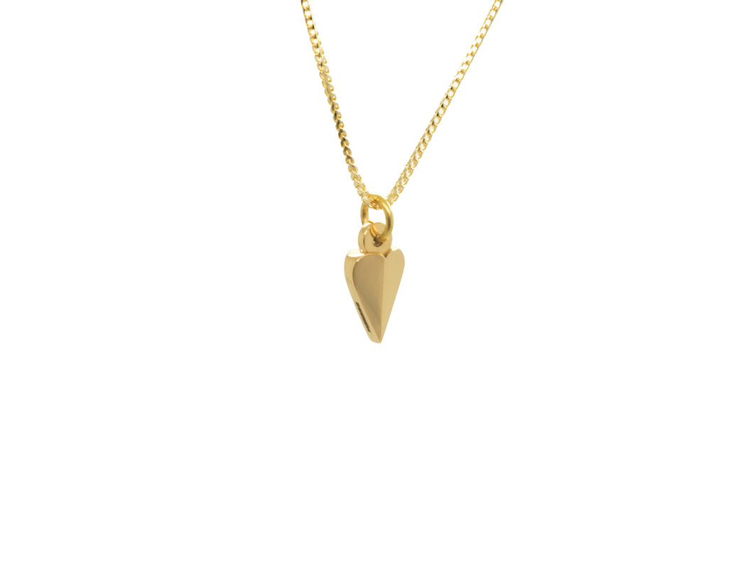 Facteted Heart Pendant, 18ct Gold