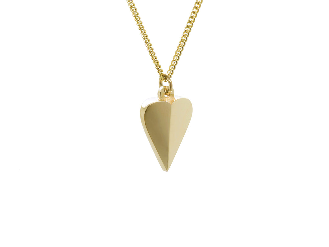 Gold Faceted Heart Pendant