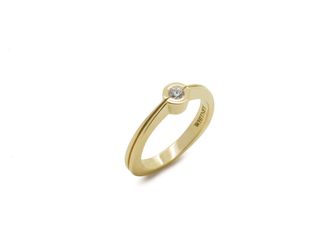 Delicate Diamond Split Ring, Yellow Gold