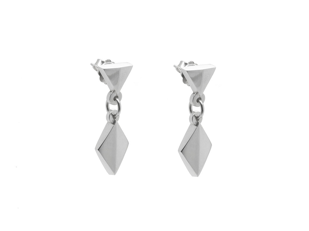 Faceted Diamond Dangly Earrings