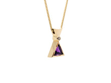 Load image into Gallery viewer, Triangular Amethyst & Diamond Pendant