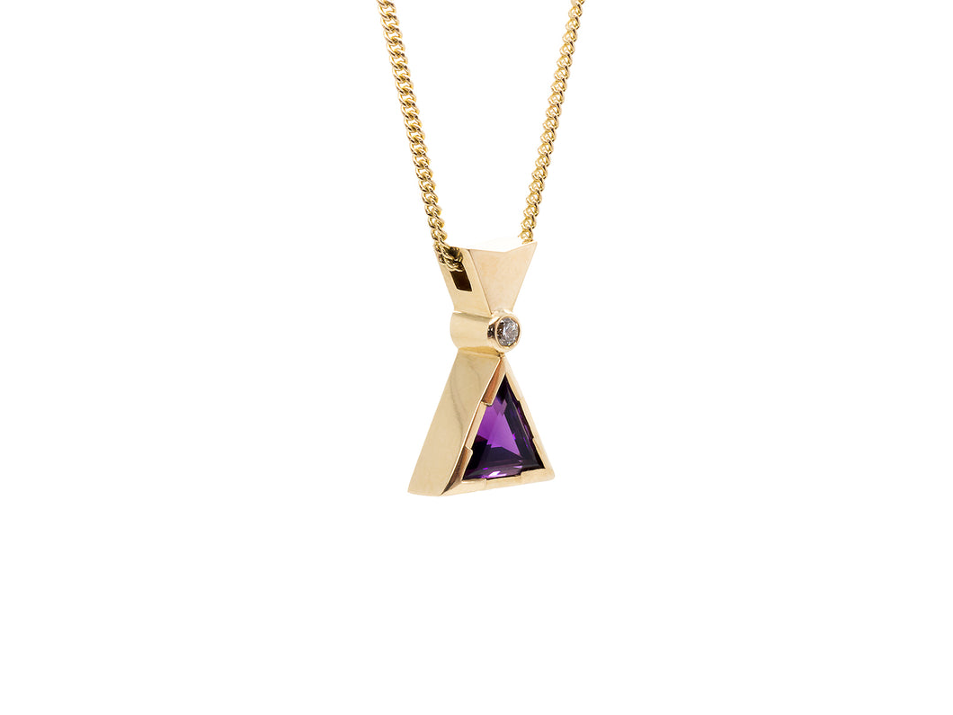 Triangular Amethyst & Diamond Pendant