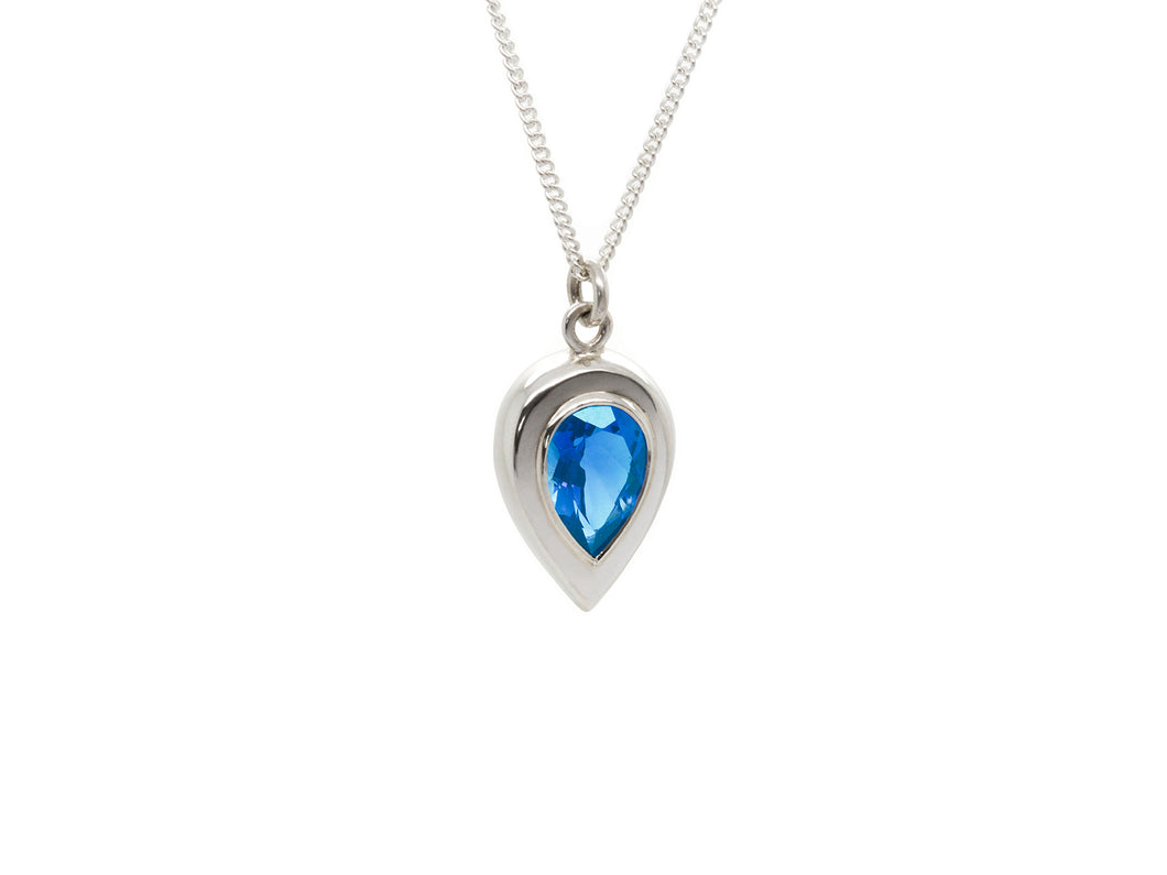 Swiss Blue Pear Pendant