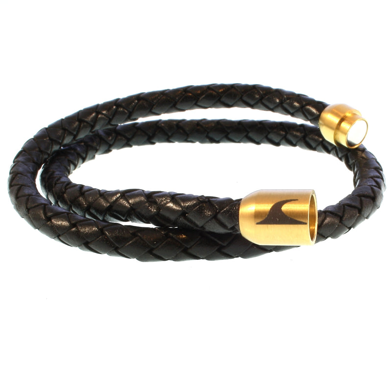 WAVEPIRATE Lederarmband HAWAII F Schwarz/Gold