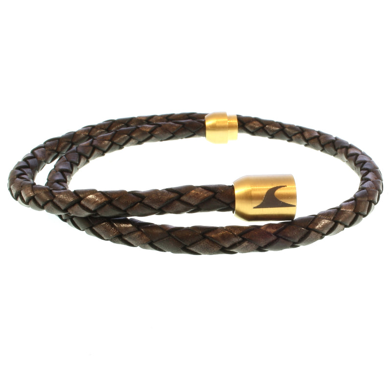 WAVEPIRATE Lederarmband HAWAII F Braun/Gold